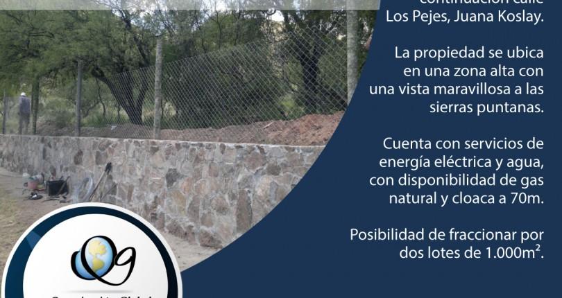 Terreno 2.000m², sobre continuación calle Los Pejes. Juana Koslay.